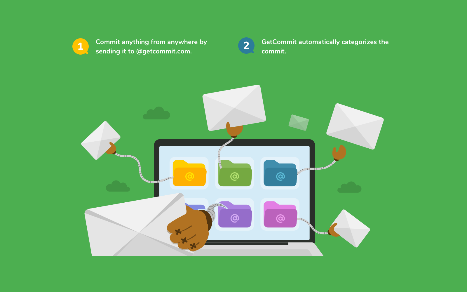 Commit anything to GetCommit, it's as easy as forwarding an email. GetCommit automatically categorizes the information.
